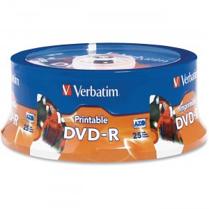 Verbatim 96191 DVD-R 4.7GB 16x White Inkjet Hub Printable 25pk Spindle VER96191