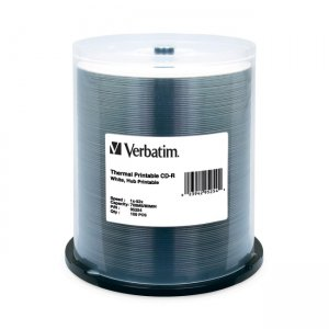 Verbatim 95254 CD-R 80MIN 700MB 52x White Thermal Printable, Hub Printable 100pk Spindle