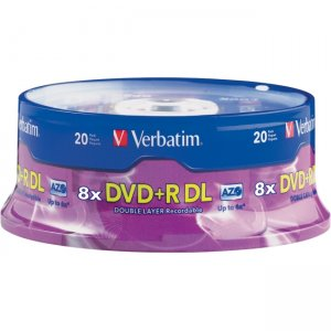 Verbatim 95310 AZO DVD+R DL 8.5GB 8X with Branded Surface - 20pk Spindle