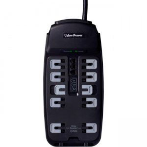 CyberPower CSP1008T Professional 10-Outlets Surge Suppressor 8FT Cord and TEL