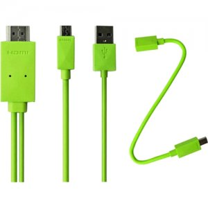 4XEM 4XMHLS2S3G Micro USB To HDMI MHL Adapter Cable For Samsung Galaxy S2/S3/S4/Note(Green)