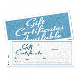 Adams GFTC1 Gift Certificates w/Envelopes, 8 x 3 2/5, White/Canary, 25/Book ABFGFTC1