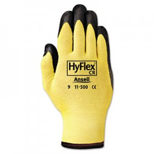 AnsellPro 1150010 HyFlex Ultra Lightweight Assembly Gloves, Black/Yellow, Size 10, 12 Pairs ANS1150010