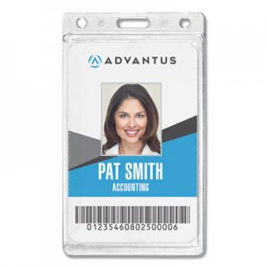 Advantus AVT76076 Frosted Rigid Badge Holder, 2 1/8 x 3 3/8, Clear, Vertical, 25/BX