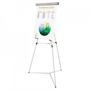 "MasterVision FLX05102MV Telescoping Tripod Display Easel, Adjusts 38"" to 69"" High, Metal, Silver BVCFLX05102MV"
