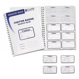 C-Line 97030 Visitor Badges with Registry Log, 3 1/2 x 2, White, 150/Box CLI97030