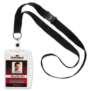 Durable DBL826819 ID/Security Card Holder Set, Vertical/Horizontal, Lanyard, Clear, 10/Pack
