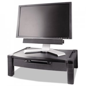 Kantek MS520 Wide Two-Level Stand with Drawer, Height-Adjustable, 20 x 13 1/4, Black KTKMS520
