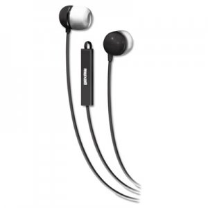 Maxell 190300 In-Ear Buds with Built-in Microphone, Black/White MAX190300