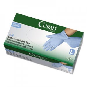 Curad MIICUR9316 Nitrile Exam Glove, Powder-Free, Large, 150/Box