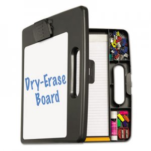 "Officemate 83382 Portable Dry Erase Clipboard Case, 4 Compartments, 1/2"" Capacity, Charcoal OIC83382"