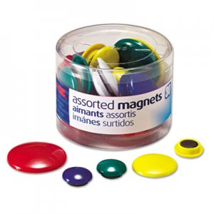 Officemate 92500 Assorted Magnets, Circles, Assorted Sizes and Colors, 30 per Tub OIC92500