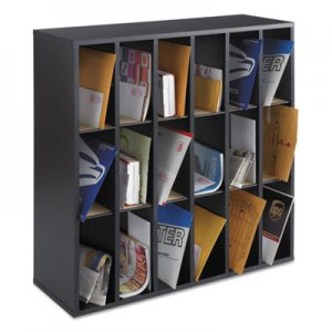 Safco SAF7765BL Wood Mail Sorter with Adjustable Dividers, Stackable, 18 Compartments, Black