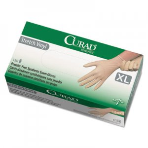 Curad 6CUR9227 Stretch Vinyl Exam Gloves, Powder-Free, X-Large, 130/Box MII6CUR9227