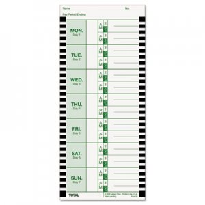 Lathem Time E8100 Time Card for Lathem Model 800P, 4 x 9, Weekly, 1-Sided, 100/Pack LTHE8100