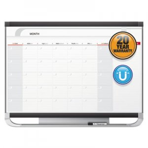 Quartet QRTCP43P2 Prestige 2 Total Erase Monthly Calendar, 48 x 36, Graphite Color Frame