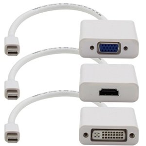 AddOn MDP2VGA-HDMI-DVI-W Mini-DisplayPort Adapter Bundle (VGA, HDMI, DVI) for Mac