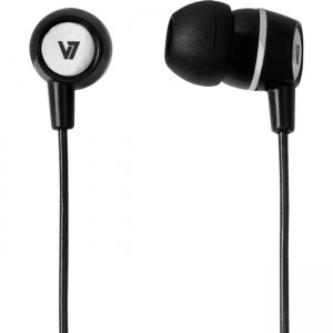 V7 HA110-BLK-12NB Stereo Earbuds with Inline Microphone