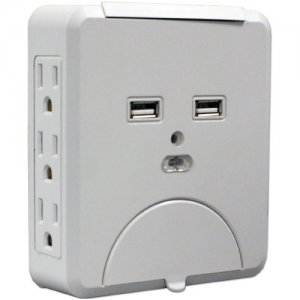 QVS PS-06UH Wallmount Power Block with Dual-USB Ports
