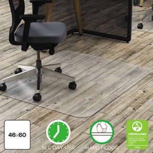 deflecto CM21442FPC Clear Polycarbonate All Day Use Chair Mat for Hard Floor, 46 x 60 DEFCM21442FPC