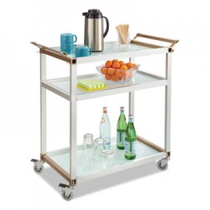 Safco SAF8969SL Large Refreshment Cart, Three-Shelf, 32w x 16 3/4d x 35h, Silver