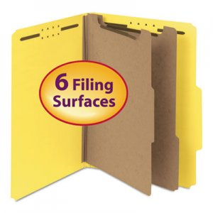 "Smead 14064 Pressboard Classification Folder, 2"" Exp., Two Dividers, Letter, Yellow, 10/Box SMD14064"