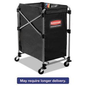 Rubbermaid Commercial 1881749 Collapsible X-Cart, Steel, Four Bushel Cart, 20 1/3w x 24 1/10d, Black/Silver RCP1881749