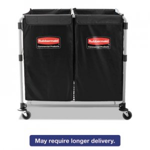 Rubbermaid Commercial 1881781 Collapsible X-Cart, Steel, 2 to 4 Bushel Cart, 24 1/10w x 35 7/10d, Black
