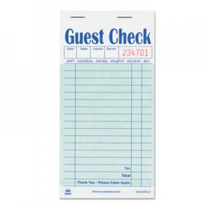 Royal RPPGC60002 Guest Check Book, Carbon Duplicate, 3 1/2 x 6 7/10, 50/Book, 50 Books/Carton