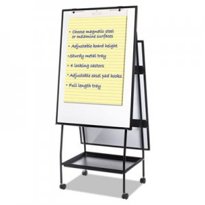 MasterVision BVCEA49125016 Creation Station Dry Erase Board, 29 1/2 x 74 7/8, Black Frame