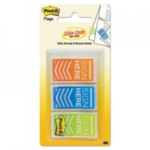 "Post-it Flags MMM682SHOBL Arrow Message 1"" Page Flags, ""Sign Here"", Blue/Lime/Orange, 60/Pack"