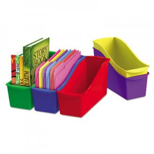 Storex 70105U06C Interlocking Book Bins, 4 3/4 x 12 5/8 x 7, 5 Color Set, Plastic STX70105U06C