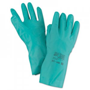 AnsellPro ANS3714510 Sol-Vex Sandpatch-Grip Nitrile Gloves, Green, Size 10, 12 Pairs