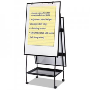 MasterVision BVCEA49145016 Creation Station Magnetic Dry Erase Board, 29 1/2 x 74 7/8, Black Frame