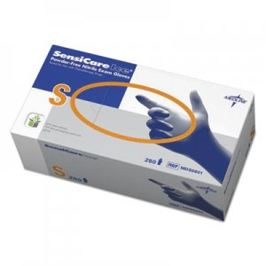 Medline MDS6801 Sensicare Ice Nitrile Exam Gloves, Powder-Free, Small, Blue, 250/Box MIIMDS6801