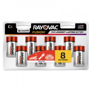 Rayovac RAY8148LTFUSK Fusion Advanced Alkaline Batteries, C, 8/Pack