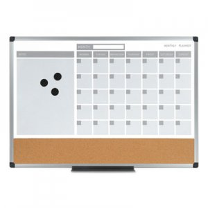 MasterVision BVCMB0707186P 3-in-1 Calendar Planner Dry Erase Board, 36 x 24, Silver Frame