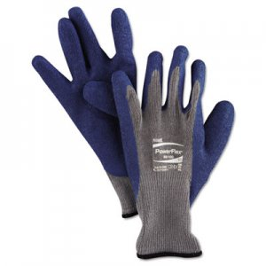 AnsellPro ANS8010010PR PowerFlex Gloves, Blue/Gray, Size 10, 1 Pair