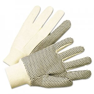 Anchor Brand ANR1005 1000 Series PVC Dotted Canvas Gloves, White/Black, Large, 12 Pairs