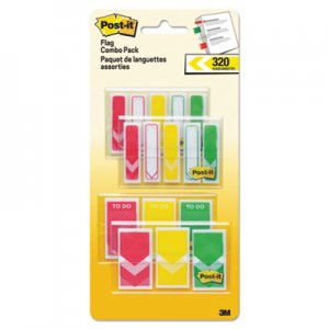 "Post-it Flags MMM682RYGVA 1/2"" and 1"" Prioritization Page Flag Value Pack, Red/Yellow/Green, 320/Pack"