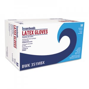 Boardwalk BWK351MBX Powder-Free Latex Exam Gloves, Medium, Natural, 4 4/5 mil, 100/Box
