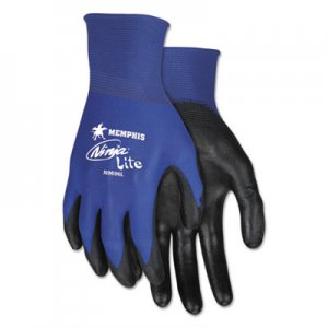 MCR Safety CRWN9696L Ultra Tech Tactile Dexterity Work Gloves, Blue/Black, Large, 1 Dozen