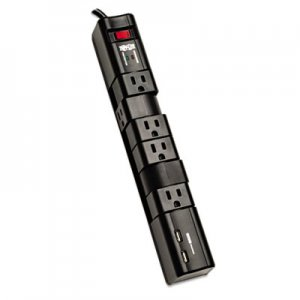 Tripp Lite TRPTLP608RUSBB Protect It! Surge Protector, 6 Outlets/2 USB, 8 ft. Cord, 1080 Joules, Black