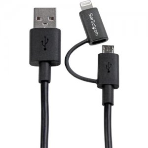 StarTech.com LTUB1MBK Lightning or Micro USB to USB cable - 1m (3ft), black