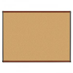 Lorell 60644 Mahogany Finish Natural Cork Board LLR60644