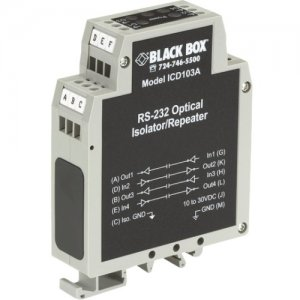 Black Box ICD103A DIN Rail Repeater with Opto-Isolation, RS-232