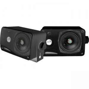 Pyle PLMR24B 3.5'' 200 Watt 3-Way Weather Proof Mini Box Speaker System (Black)