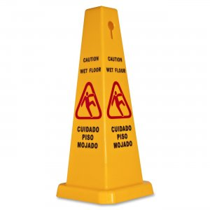 Genuine Joe 58880 Four Sided Safety Cone Caution Sign GJO58880