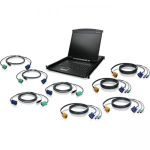 "Iogear GCL1908KIT 8-Port 19"" LCD KVM Drawer Kit with PS/2 and USB KVM Cables GCL1908"