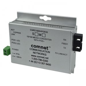 "ComNet CWFE1004BPOES/M Commercial Grade 100Mbps Media Converter with 48V POE, Mini, ""B"" Unit"